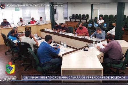Imagem Resumo sessão ordinária Câmara de Vereadores de Soledade dia 23/11